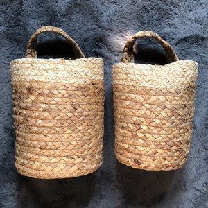 Set of 2 Jute Boho Hanging Baskets